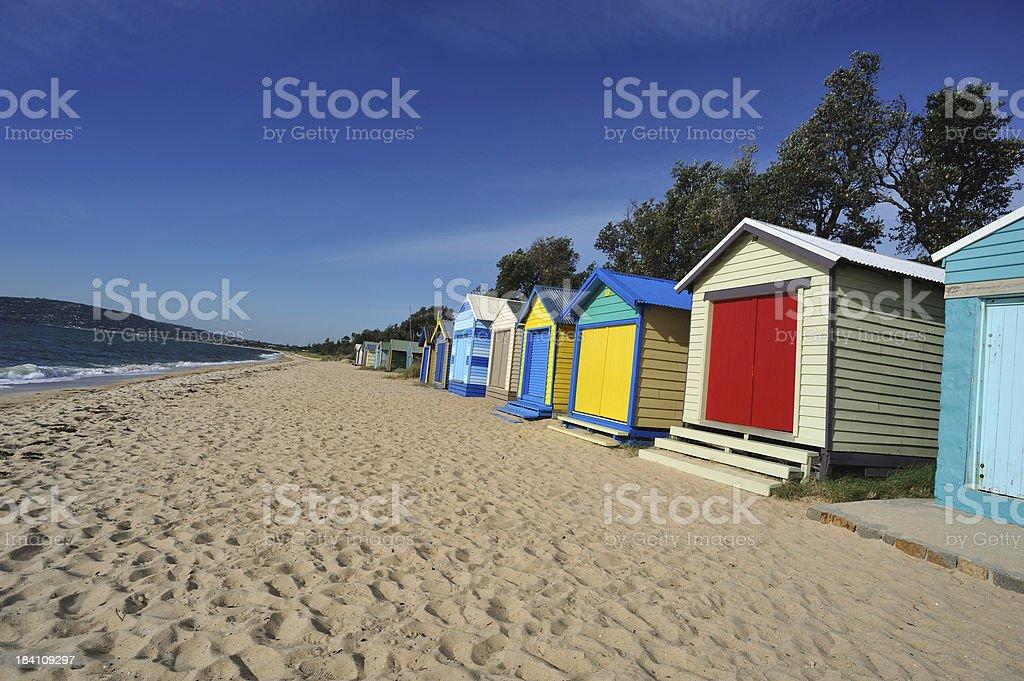 Colorful Beach Huts at Mornington Peninsula in Victoria, royalty-free stock photo