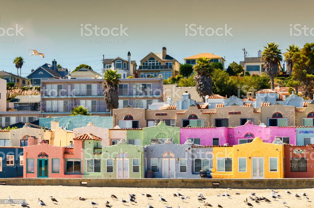 Colorful beach neighborhood in Capitola, California stock photo