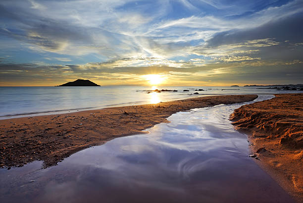 Colorful Beach Sunset stock photo