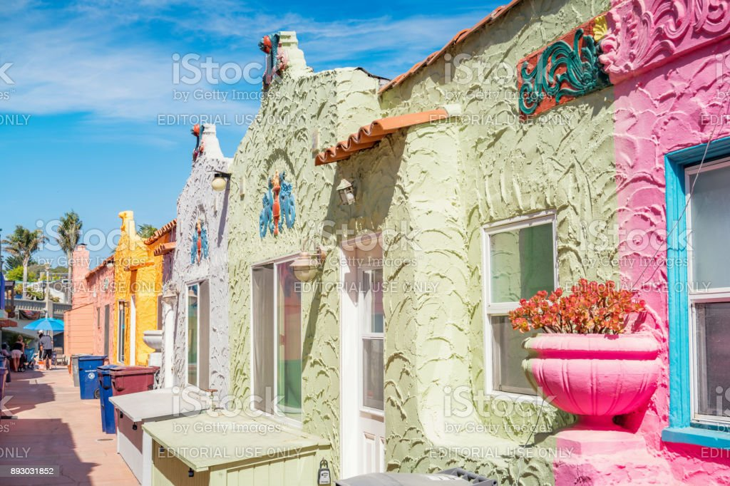 colorful beach townhouses in capitola california usa royalty free stock photo