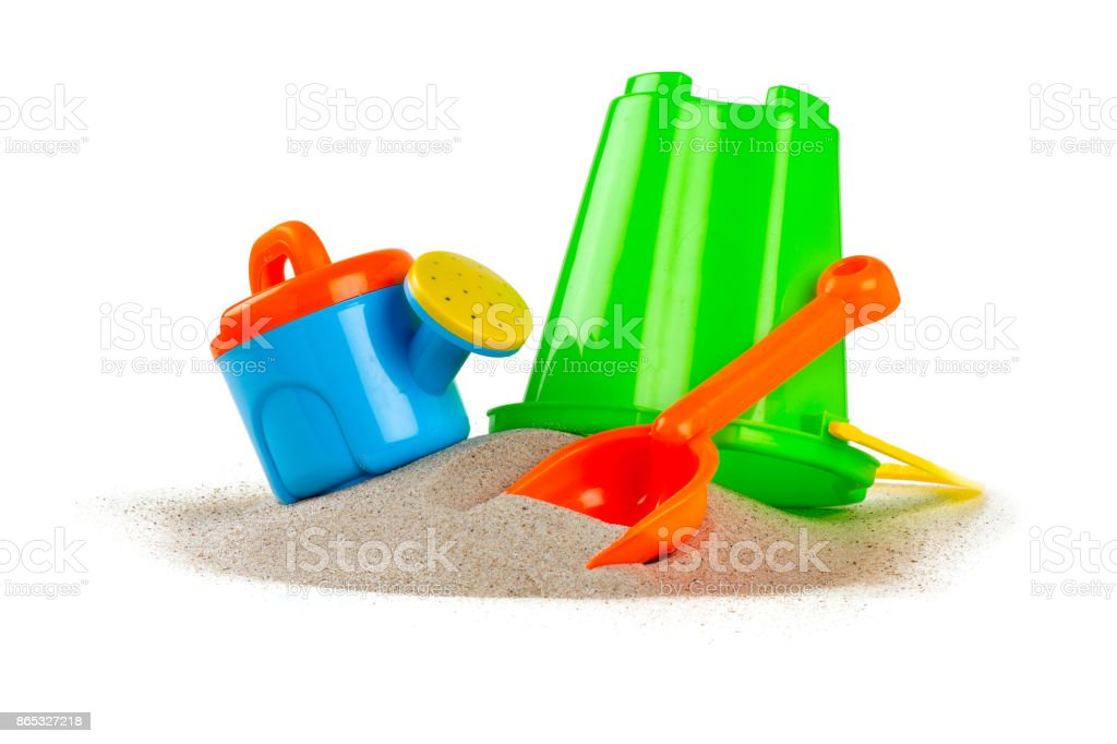colorful beach toys isolated on white stock photo