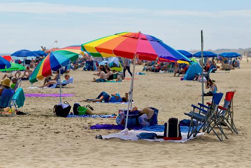 Colorful Beach Umbrella, Rehoboth Beach, Delaware