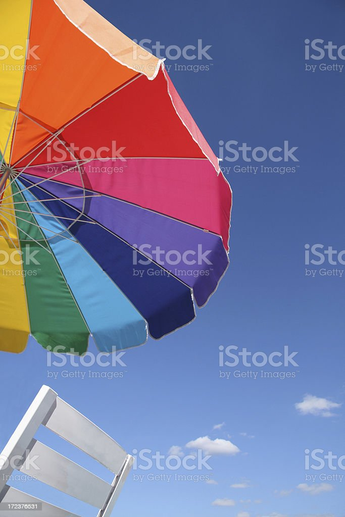Colorful beach umbrella.  Summer afternoon in Indiana royalty-free stock photo