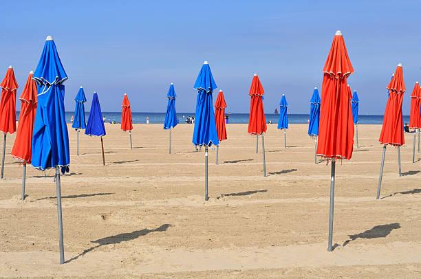 Colorful beach umbrellas in Deauville
