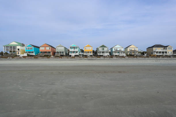 Colorful Beachfront Homes in Myrtle Beach stock photo