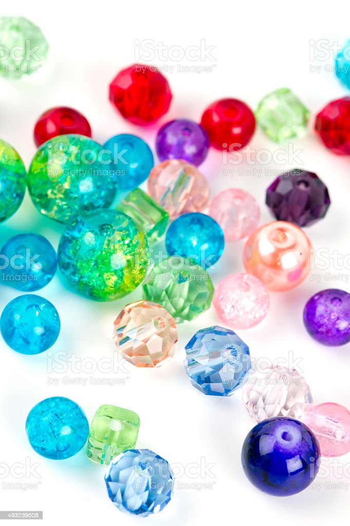 colorful beads isolated on white stock photo