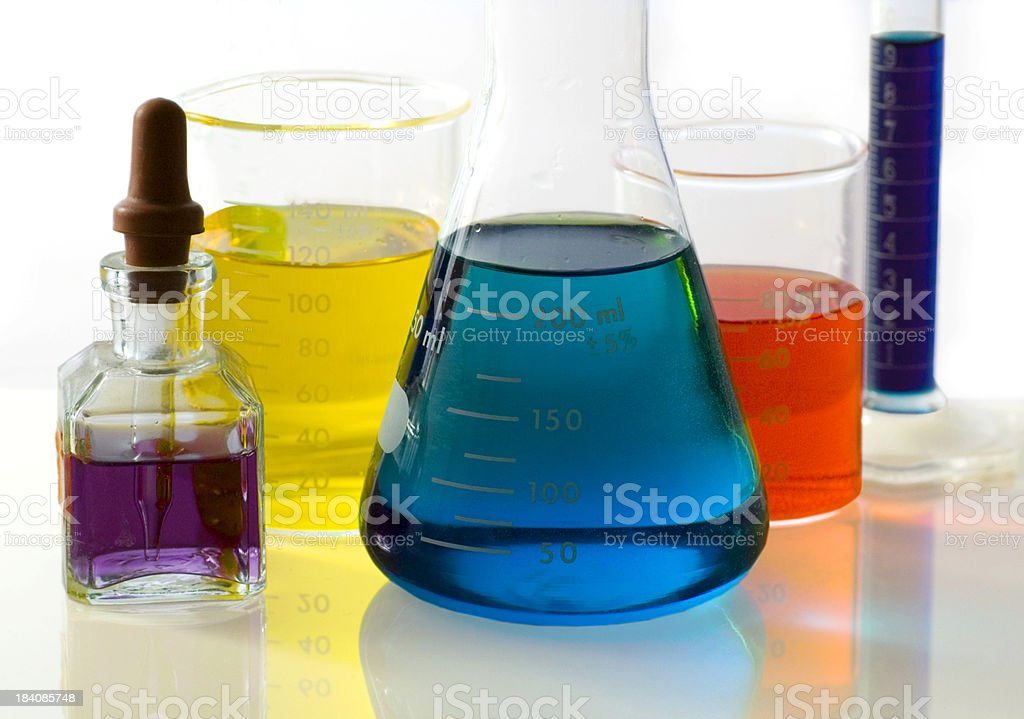 Colorful Beakers and Flasks - Lab Series royalty-free stock photo