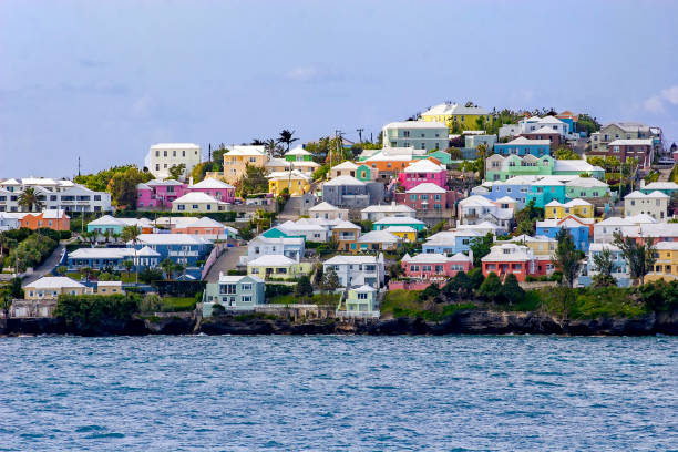 Colorful Bermuda island Homes near Hamilton overlooking the Atlantic Ocean