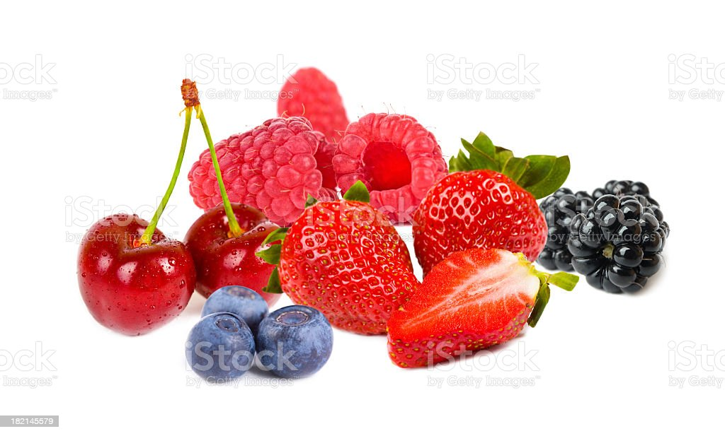 Colorful berry fruits against white background royalty-free stock photo
