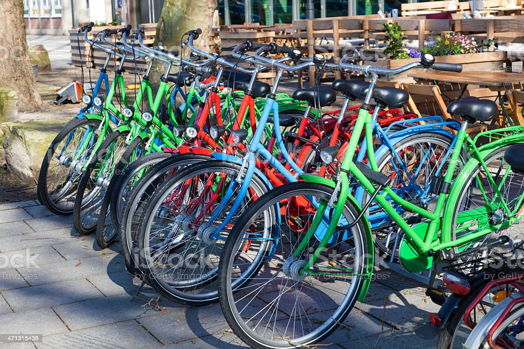 Colorful bicycles stock photo
