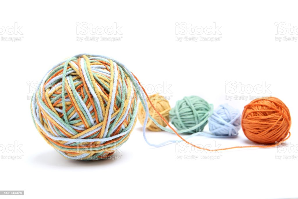Colorful big thread ball from four color thread. Cotton thread balls isolated on white background. stock photo