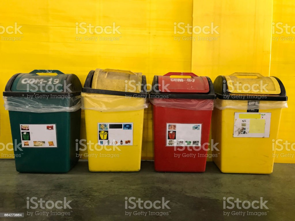Colorful bin for garbage in the industrial. royalty-free stock photo