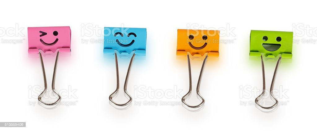 Colorful binders with smiles stock photo