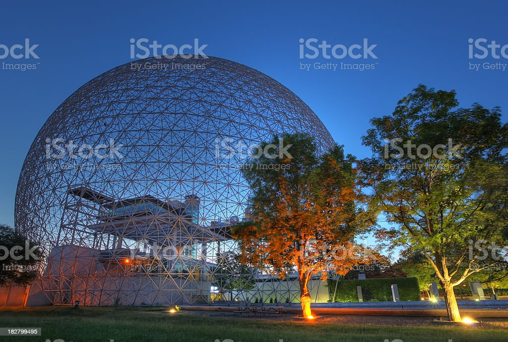 Colorful Biosphere at Sunrise stock photo