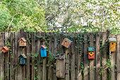Colorful Bird Houses on a Stockade Fence