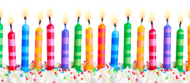 Colorful birthday cake candles Brightly colored birthday cake candles against a white background birthday candle stock pictures, royalty-free photos & images