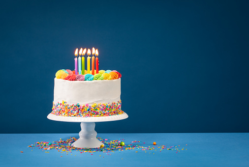 istock Colorful Birthday Cake over Blue 1143168751