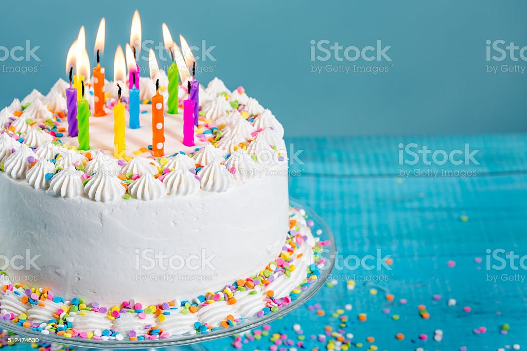 Astounding Colorful Birthday Cake With Candles Stock Photo Download Image Birthday Cards Printable Benkemecafe Filternl