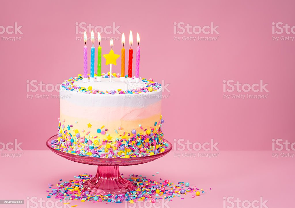 Colorful Birthday Cake With Sprinkles Stock Photo More Pictures Of