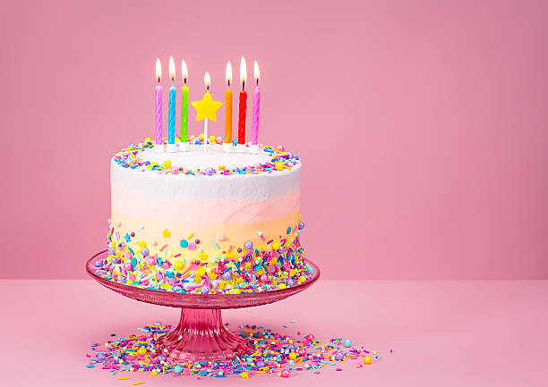 Colorful Birthday Cake with Sprinkles stock photo