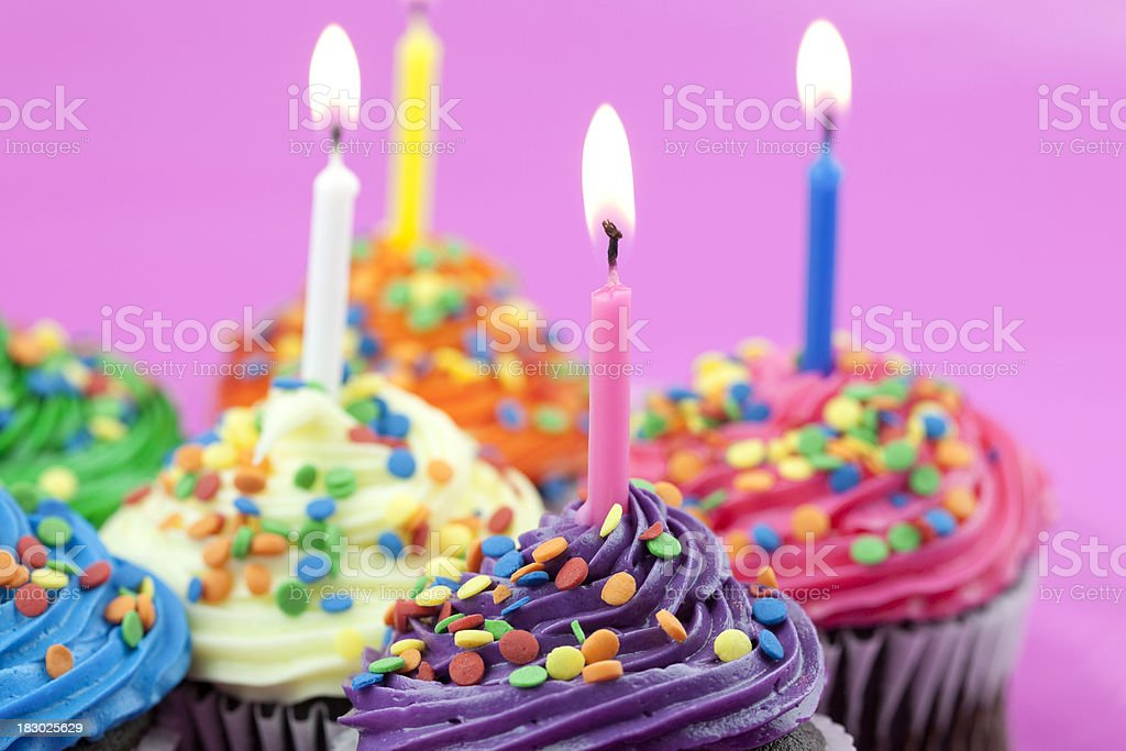 Colorful Birthday Cupcakes Stock Photo More Pictures Of
