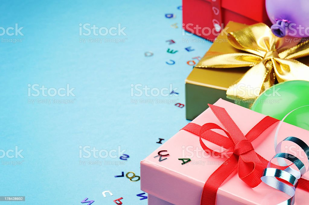 Colorful birthday gift boxes stock photo