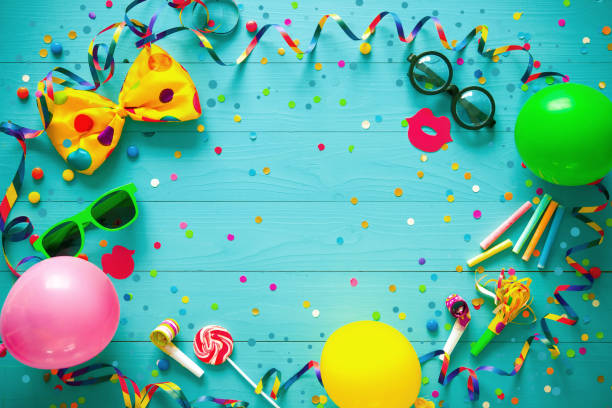 colorful birthday or carnival background - carnival stock photos and pictures