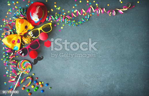 istock Colorful birthday or carnival background 907182490