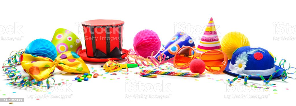 Colorful birthday or carnival background with party items isolated on white stock photo