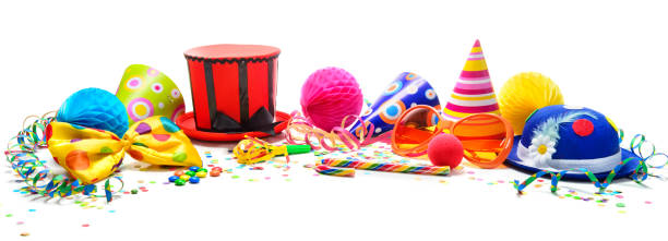 colorful birthday or carnival background with party items isolated on white - happy birthday banner stock photos and pictures