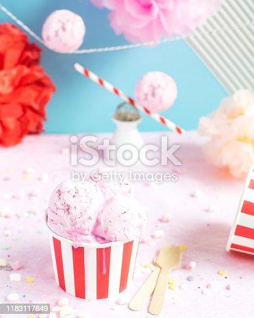 950793576 istock photo Colorful Birthday party concept, celebration, Ice cream, confetti, sparkles, circus 1183117649