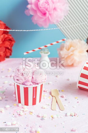 950793576 istock photo Colorful Birthday party concept, celebration, Ice cream, confetti, sparkles, circus 1183117735