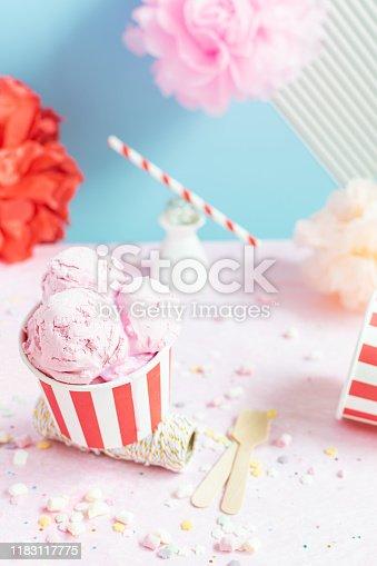 950793576 istock photo Colorful Birthday party concept, celebration, Ice cream, confetti, sparkles, circus 1183117775