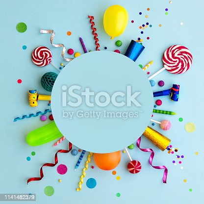 istock Colorful birthday party flat lay background 1141482379