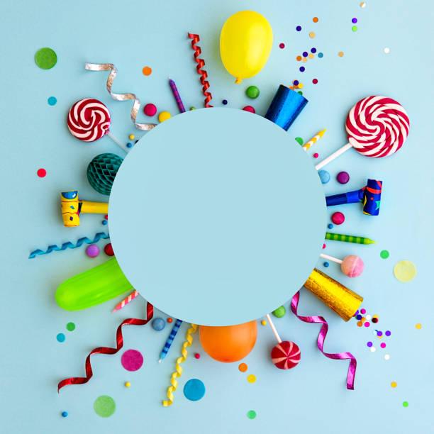 colorful birthday party flat lay background - день рождения стоковые фото и изображения