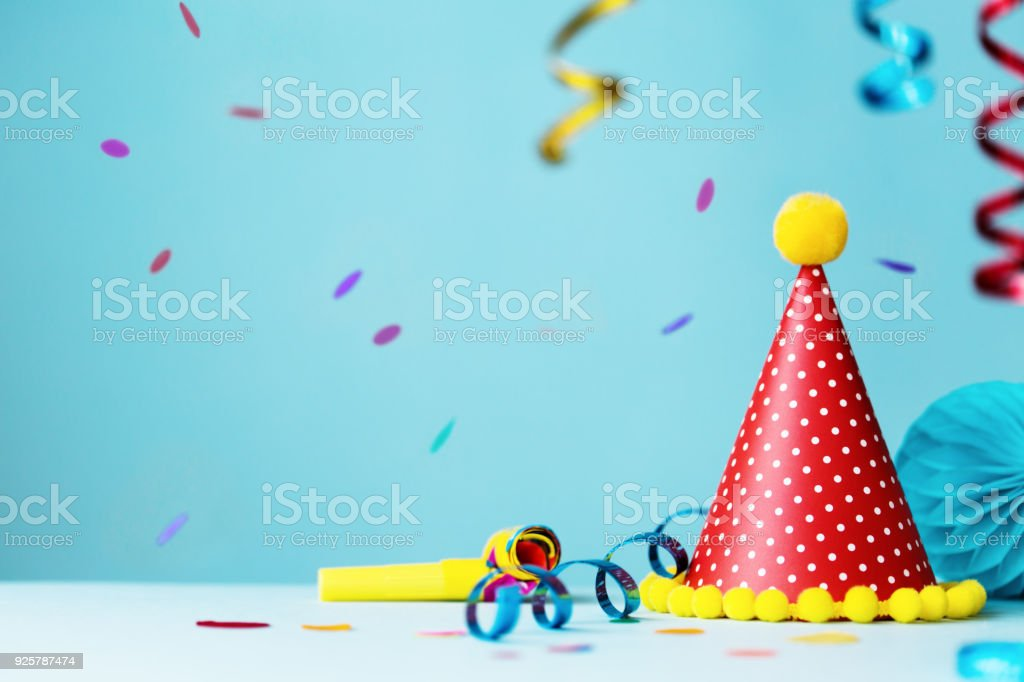 Colorful Birthday Party Hat And Streamers Stock Photo More