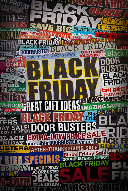 Colorful black friday newspaper collage A colorful collage made up of newspaper clippings and sales papers on the topic of