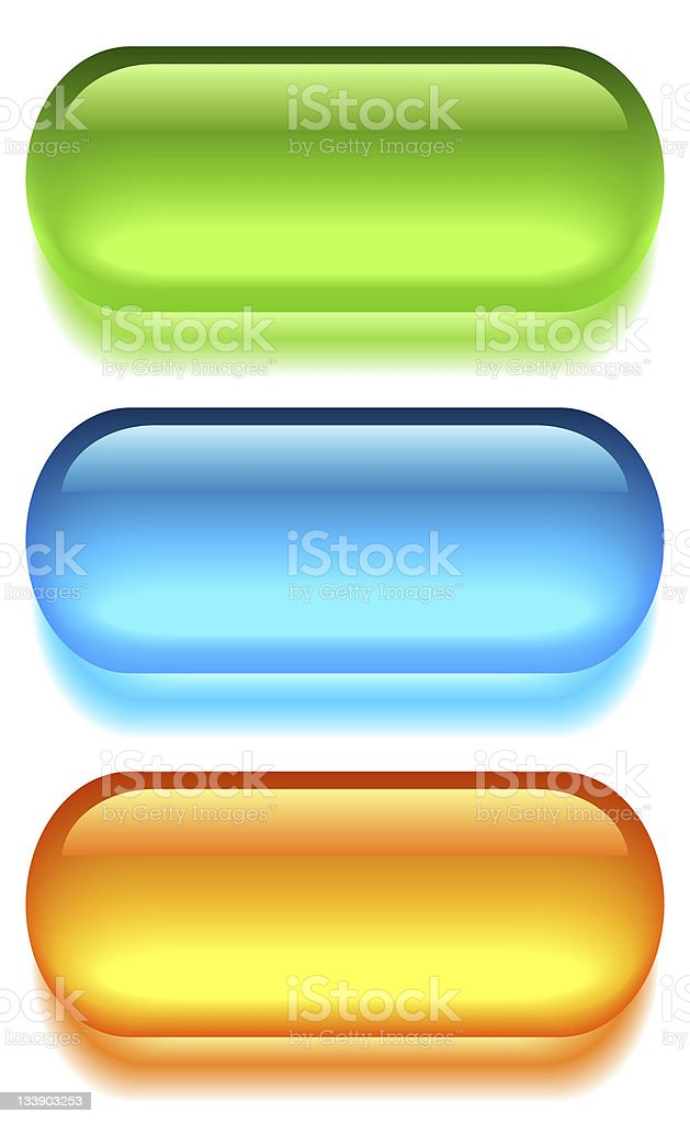 Colorful blank glass buttons on white background stock photo