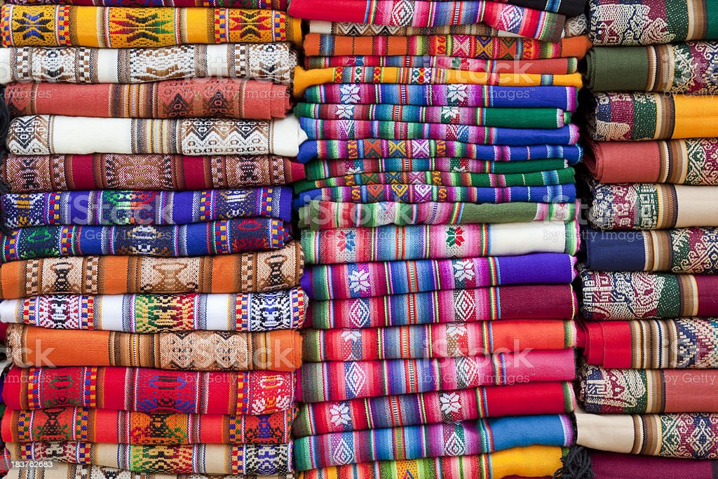 Colorful blankets at market in Argentina south america royalty-free stock photo