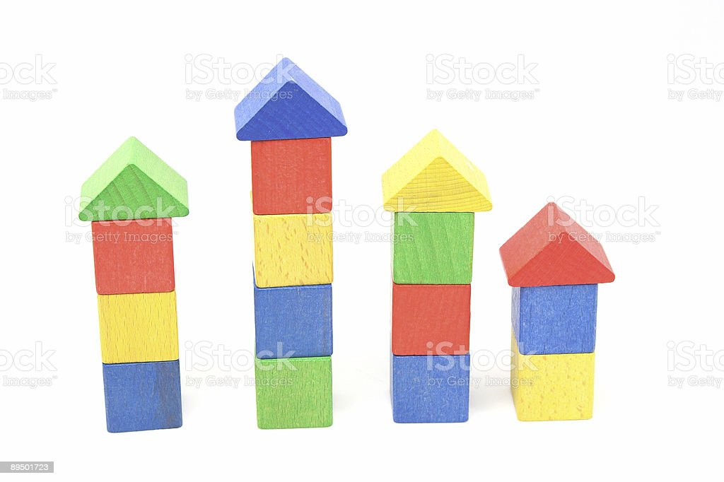 Colorful Block Stacks In Row royalty-free stock photo