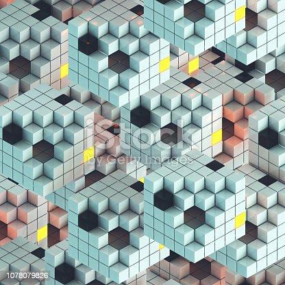 Colorful, illuminated puzzle cube