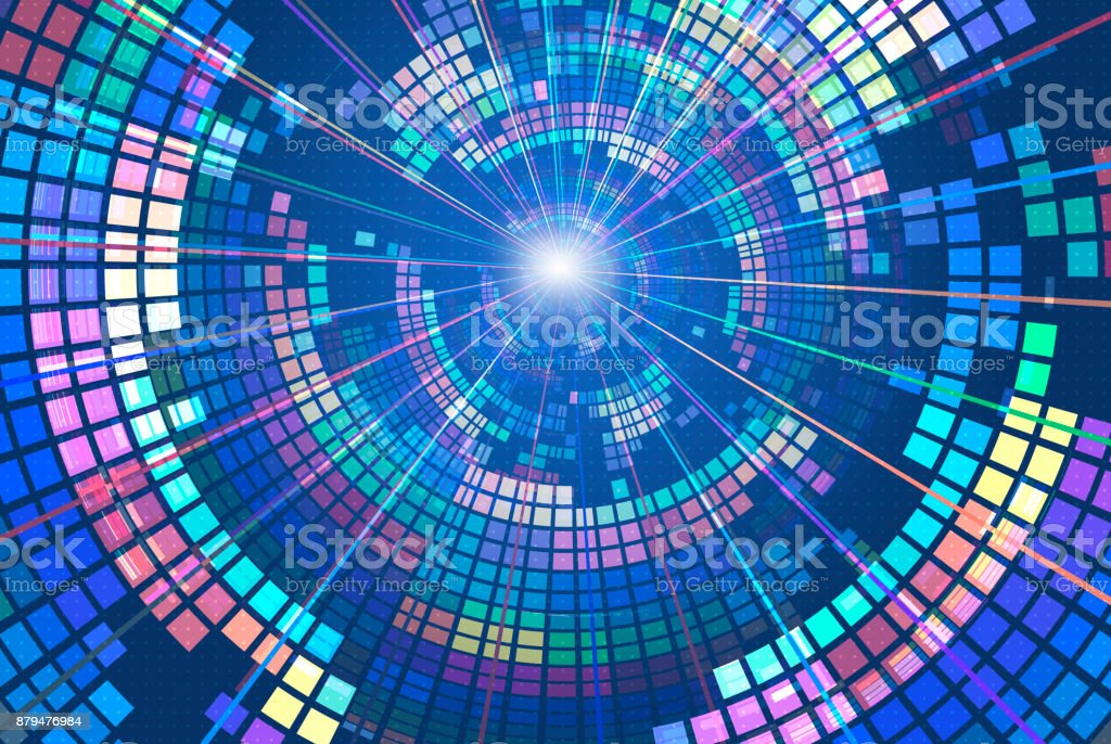 Colorful blocks make up a spiral abstract background stock photo