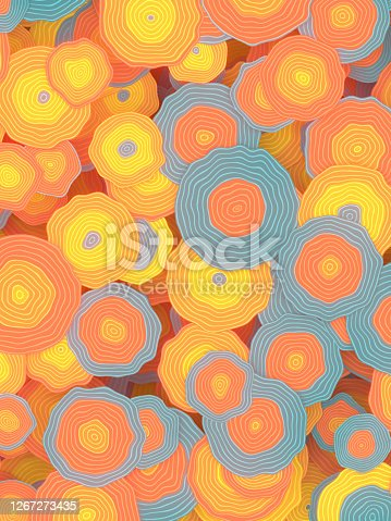 Colorful blooms pattern in retro style colored background. Floral abstract design. 3d rendering digital illustration