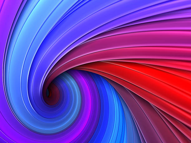 Colorful blue and purple 3d swirl vortex stock photo