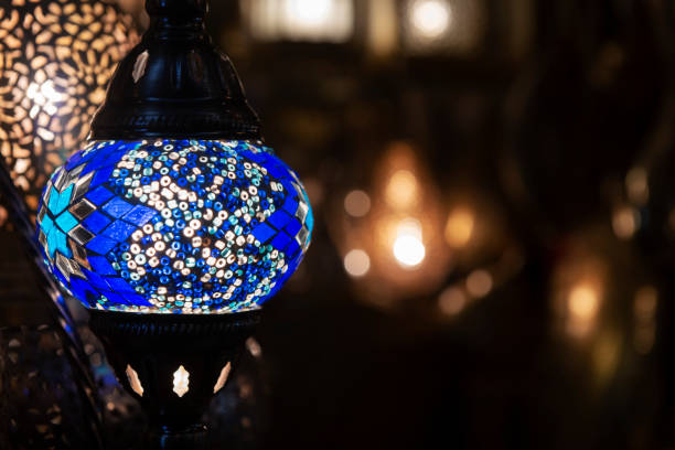Colorful blue Moroccan lamp with blue glass mosaic design. Oriental style. stock photo