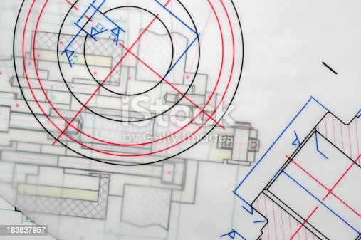 istock Colorful Blueprint Outline-Industry Design Printout 183837957