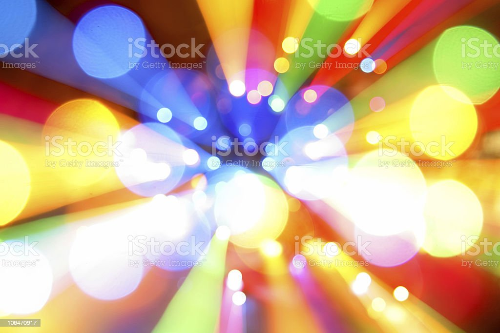 Colorful blurred lights from afar stock photo