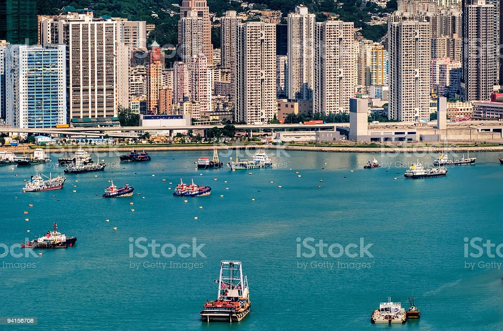 Colorful boats in harbor royalty-free stock photo