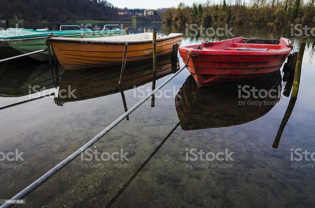 Colorful boats on Adda river stock photo