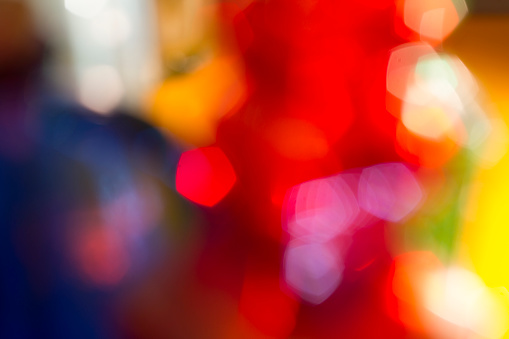 Colorful red blue and yellow bokeh background